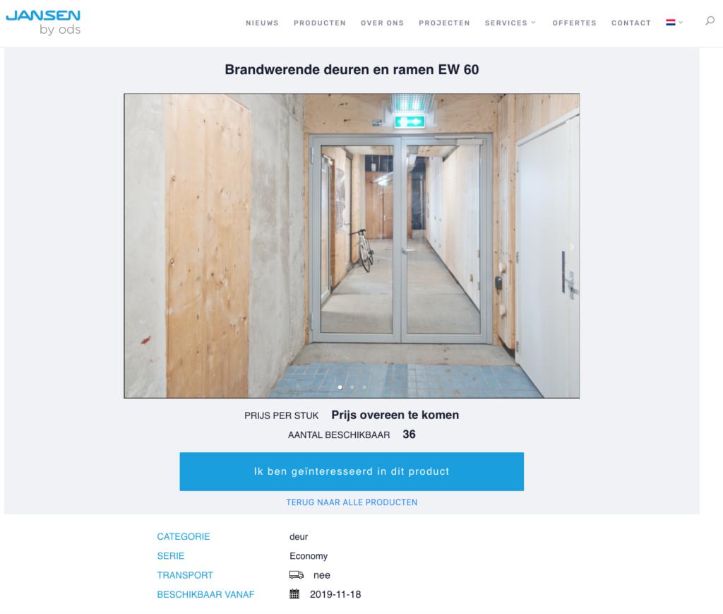 Oogstkaart BlueCity deuren uit hergebruik Jansen by ODS